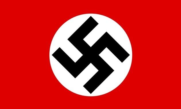 Bandeira nazista com o símbolo do nazismo, a cruz suástica