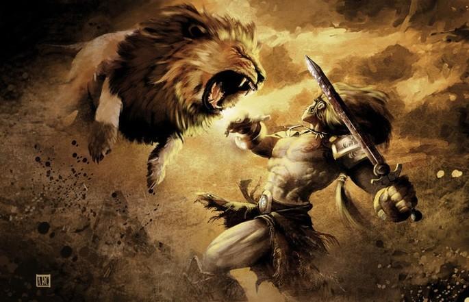 Hércules luta contra o Leão de Neméia