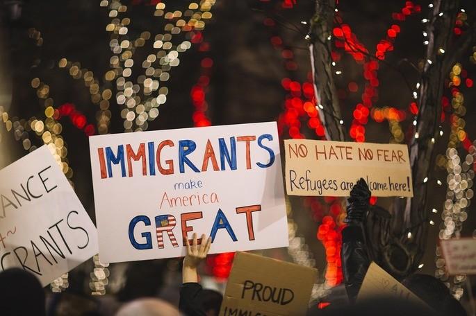 Manifestação a favor dos imigrantes nos EUA