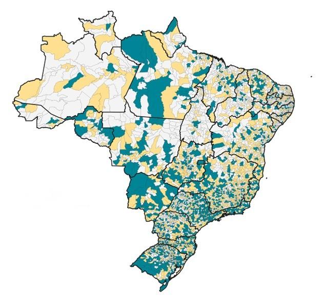 Mapa do Brasil dividido em municípios