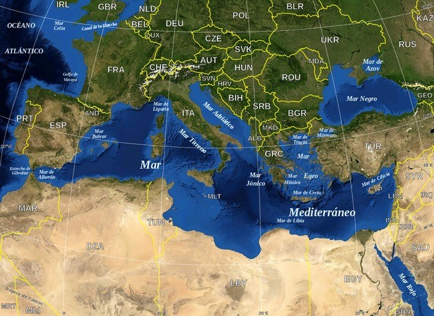 Mar Mediterrâneo, Mar Vermelho e Mar Negro