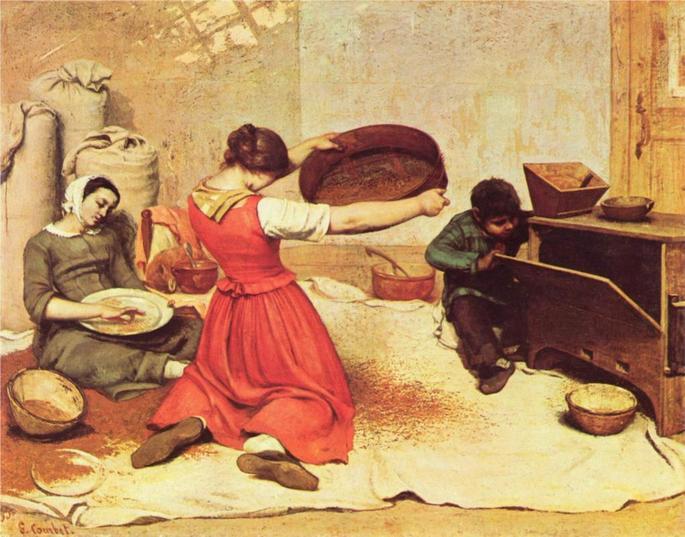 Mulheres peneirando trigo, Gustave Courbet