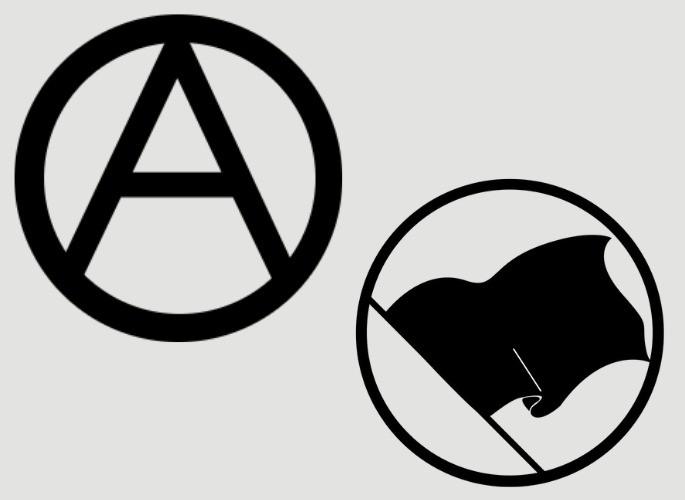 o 'A' e a bandeira negra, símbolos do anarquismo