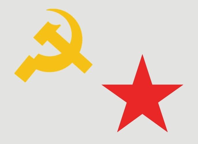 foice e martelo e a estrela vermelha são símbolos do comunismo