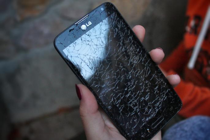 Tela quebrada de celular
