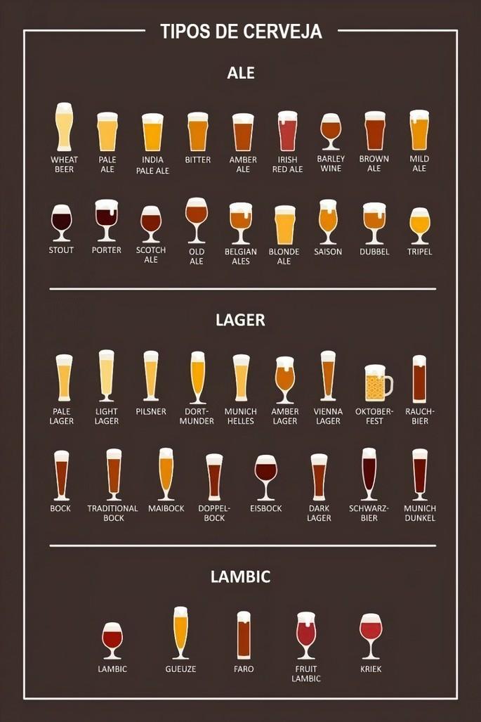 os diferentes tipos de cerveja separados pelas famílias